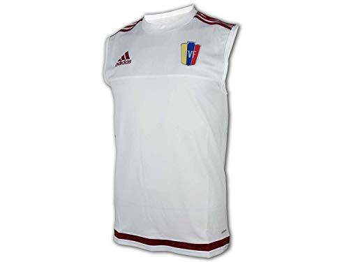 adidas Venezuela - Camiseta sin mangas, diseño de la FVF, color blanco, Unisex adulto, Blanco/Burgundy., small