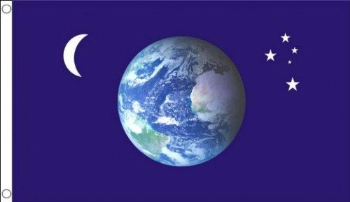 5 ft x 3 ft 150 x 90 cm-étoiles Lune Planète Terre Monde 100% Polyester-matière Drapeau Banniere Idéal pour bar Club Business School Décoration de Fête