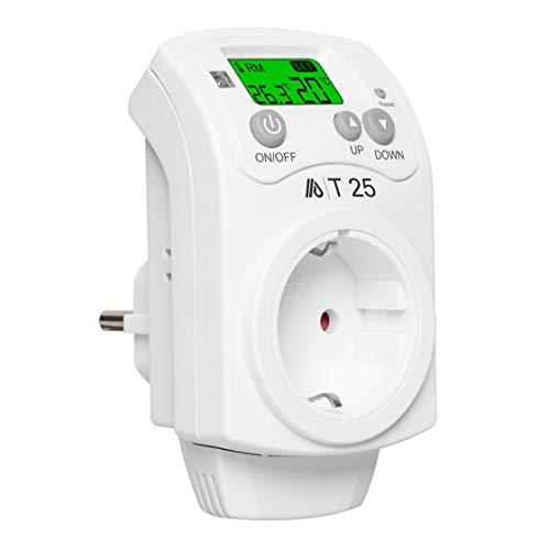 ALLEGRA Thermostat Steckdose inkl. deutschsprachiger Bedienungsanleitung Steckdosenthermostat für Infrarotheizung Heizung Heizlüfter und Klima und Timer Steckerthermostat Heizkörperthermostat (T25)