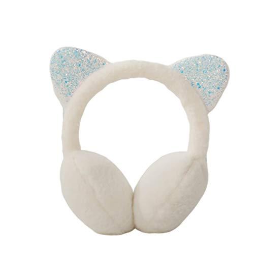Fenical Süße Katzenohren Design Ohrenschützer Weiche Ohrenwärmer Winter Plüsch Ohrenschützer Kopfbedeckungen Winter Accessoire für Mädchen Dame Warm Halten (Weiß)