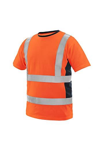 CXS Exeter Atmungsaktiv Arbeitsshirt in Signalfarbe high Visible, Warnschutz Shirt high Visible, kurzärmlig, Warnschutz Shirt mit Reflektionsstreifen, EN ISO 20471 classe 2,