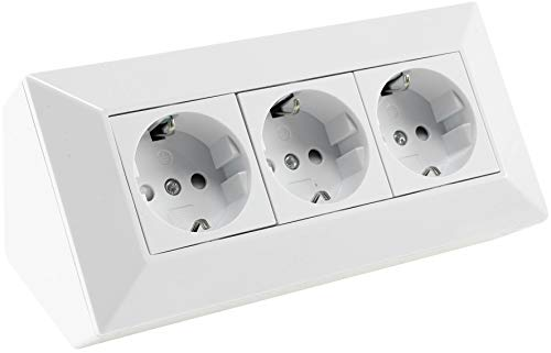 Steckdosenblock 3-fach Unterbausteckdosen 250V~ 3x Schutzkontaktsteckdose Aufbau- & Ecksteckdose für Küche Büro Werkstatt Weiß