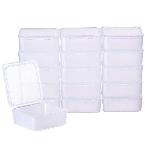 BENECREAT 24 Pack Contenitori in plastica Trasparente con Coperchio in plastica Trasparente con Coperchio per Oggetti, Pillole, Erbe, Perlina
