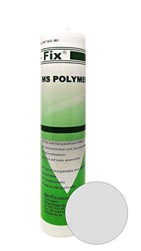 Ber-Fix® MS Polymer - Montagekleber Grau – Beton Metall Edelstahl Holz PVC Fenster Stein Fliese Gummi dauerhaft elastische Dichtmasse - kleben und dichten