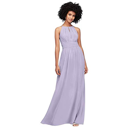 David's Bridal High-Neck Chiffon Bridesmaid Dress with Keyhole Style F19953, Iris, 12