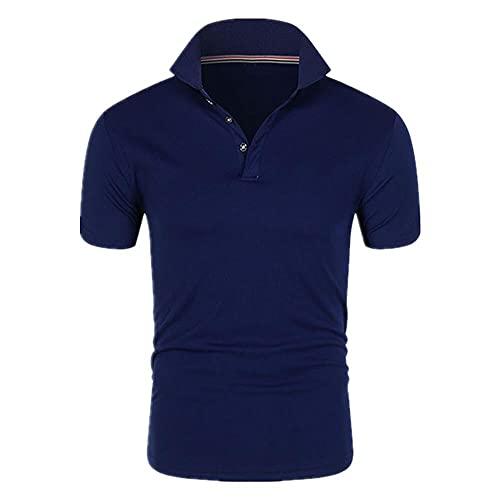 Estate Uomo Confortevole Traspirante Puro Cotone Classico Business Casual Blu scuro 4XL