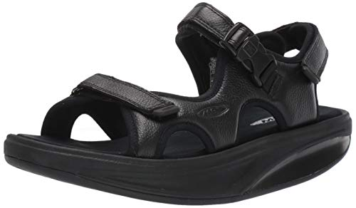 MBT 700824 Kisumu Classic M Hombre Sandalias de Vestir,de Caballero Zapato Equilibrio,Suela Curva,Black Nubuc,47 EU
