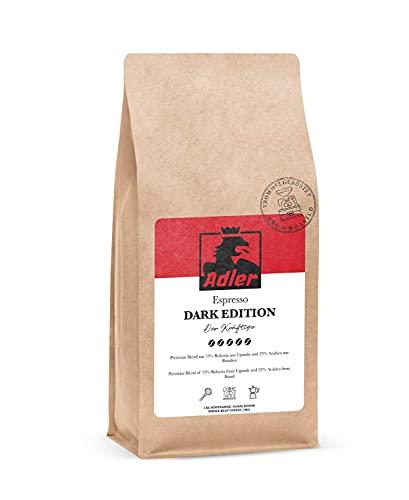 Adler Kaffee Dark Edition - Dunkler Espresso-Blend mit 75% Robusta - Für Siebträger und Vollautomat (320g)