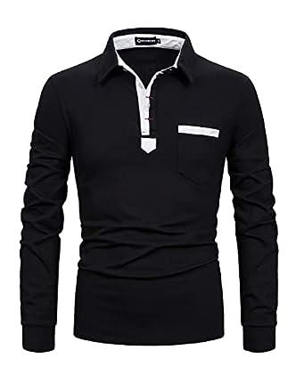 YCUEUST Polo Hombre Mangas Largas Camisas Camiseta Golf Poloshirt T-Shirt (M, Negro)