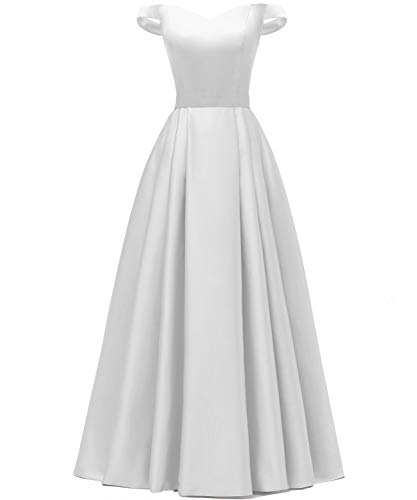 YORFORMALS Women's Off The Shoulder Pleated Satin Wedding Dress Long Formal Evening Gown with Pockets Size 14 White