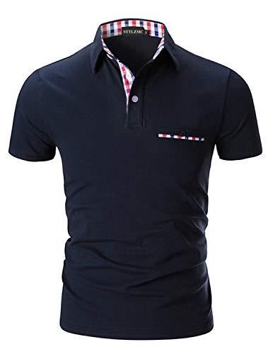 STTLZMC Poloshirt Herren Kurzarm Basic T-Shirt Freizeit Plaid spleißen Polohemd,Blau 1,M