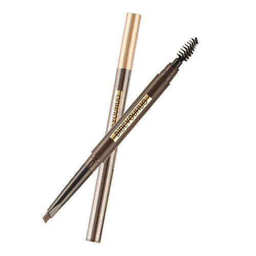 Crayon à sourcils,Imperméable et anti-transpiration Rotation automatique Tête double triangle Naturellement lisse Brun chocolat