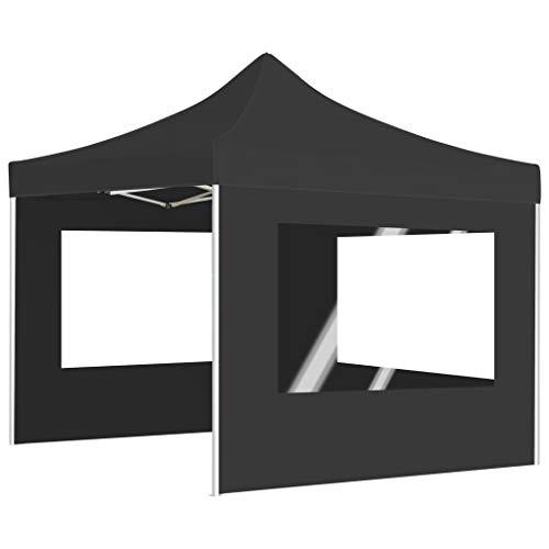 Festnight Profi-Partyzelt Faltbar mit Wänden and Klappbarem Design Wasserabweisend Pavillon Partyzelt Gartenzelt Festival Aluminium 3×3m Anthrazit