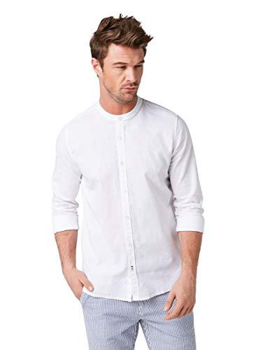 TOM TAILOR Herren 1008942 Freizeithemd, Weiß (White 20000), Large (Herstellergröße: L)