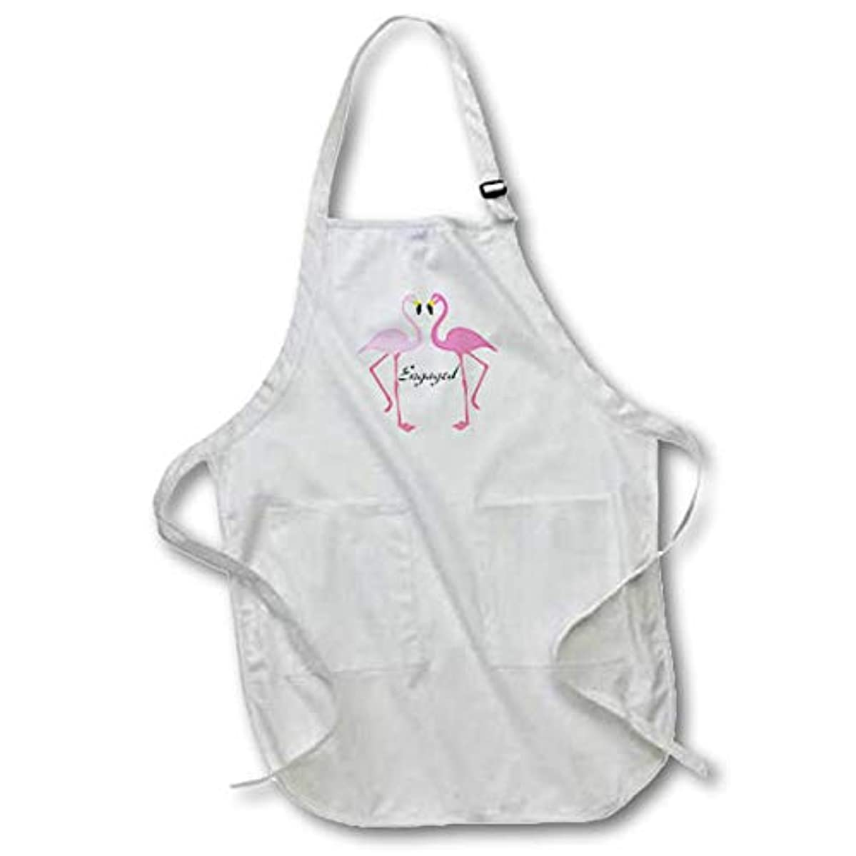 3dRose Lens Art by Florene - Wedding and Engagements - Image of Two Pink Flamingos Announce were Engaged - Full Length Apron with Pockets 22w x 30l (apr_311362_1)
