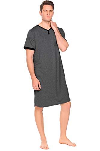 INZOE Herren Nachthemd Kurzarm Sommer Schlafanzug Kurz V-Ausschnitt Männer Einteiler Pyjama Oberteil mit Brusttasche dunkelgrau XL