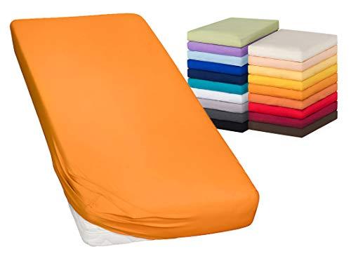 MOON-Luxury Spannbettlaken Spannbetttuch Jersey Stretch 230g/m² für Wasserbetten, Boxspringbetten und herkömmliche Matratzen (orange, 180x200-200x220)