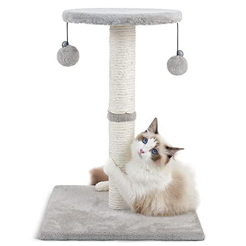 rabbitgoo Kratzbaum Katze Katzenkratzbaum Stabil, 55cm Hoch Katzen Kratzsäule Sisal-Seil Katzenmöbeln, Kratzstamm mit Sitzstange und Spielzeug Bälle, Katzenkratz Scratchpost Scratcher