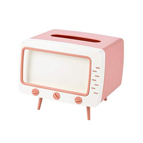 Cubierta de la caja de pañuelos TV Vintage Televisor de Televisor en forma de titular de tejido, Dispensador de tejido facial de plástico con carpeta de almacenamiento de teléfonos móviles, organizado