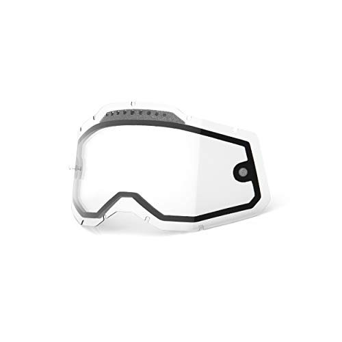 100% Goggle Vented Replacement Lens - Racecraft 2, Accuri 2, Strata 2 Compatible (Vented Dual Pane-Clear Base)