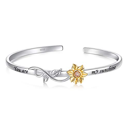 "S925 Sterling Silver Sunflower with CZ Engraved You Are My Sunshine Bangle for Women 18"" (Bangle)"