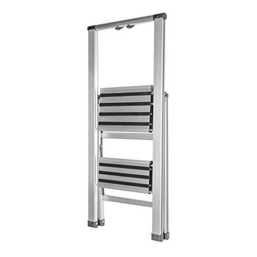 HomeCrate Folding Two Step Ultra-Light Aluminum Step Stool Ladder, 250 lb. Load Capacity