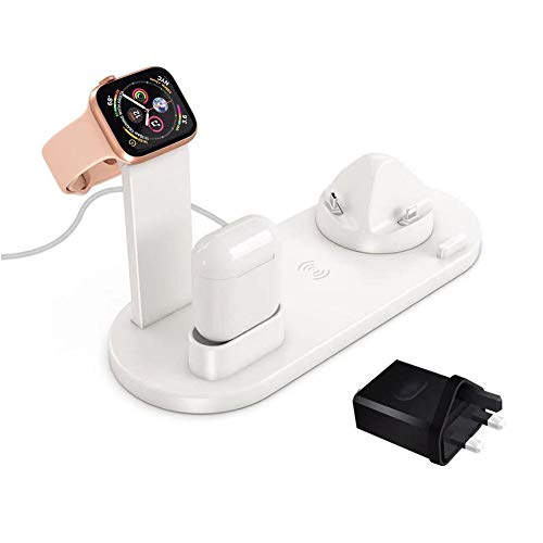 Kacyer 6 in 1 Wireless Charger, Support 10w Fast Wireless Charging Docking Station Base, for Watch 6/5/4/3/2/1, 12 Mini / 12 Pro / 12 Pro Max / 11/11 Pro / 11 Pro Max/xs/xr/x/8, Airpods (White)