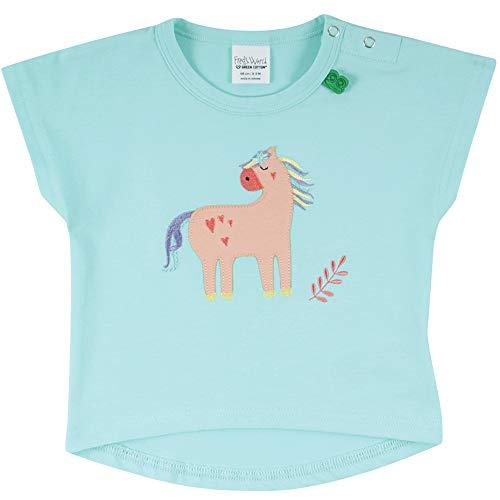 Fred'S World By Green Cotton Hello Horse T Baby T-Shirt, Bleu (Aqua 014481201), 98 Bébé Fille