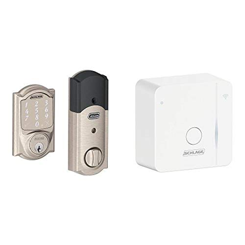 Schlage Sense Smart Deadbolt with Camelot Trim Satin Nickel (BE479 CAM 619) with Wi-Fi adapter