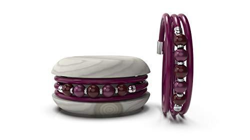 TOO LATE Macaron - Pulsera de mujer de caucho con perlas de colores y brillantes burdeos