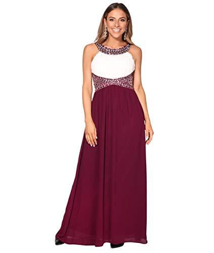 KRISP Vestido Fiesta Largo Dama de Honor Corte Imperio Invitada Boda Tallas Grandes Elegante Madrina Ceremonia, (Blanco/Burdeos (5274), 36 EU (08 UK)), 5274-WHTWIN-08