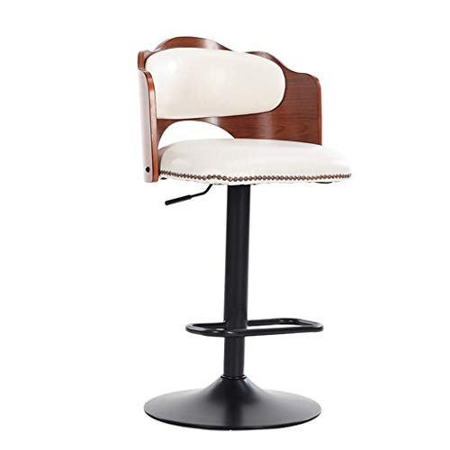 Bar Stools CONGMING Home Furniture Retro Faux Leather Bar Stools,Swivel Base Kitchen Breakfast Barstools,Backs Gas Lift Adjustable 52-78x48x32cm Stools for Kitchen Bar (Color : White)