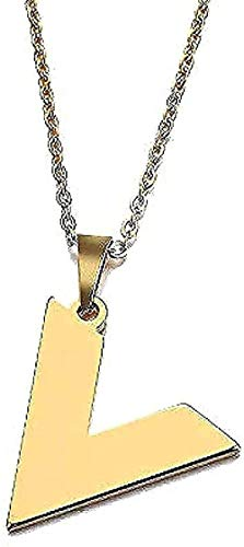 LBBYLFFF Collar Mujer Collar para Mujeres Hombres Amantes v Palabra Colgante Collar de Acero Inoxidable Collar de Compromiso Regalo