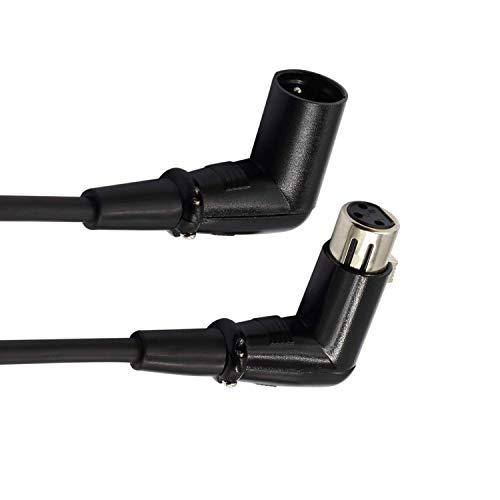 LoongGate rechtwinklig Stecker auf Buchse XLR Kabel - Premium Mikrofon DMX Signalkabel für Equilibrium / Mixer / Verstärker / Powered Lautsprecher und andere Pro-Geräte (1m / 3.2ft)