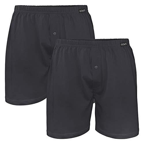 Gomati Herren Jersey Boxershorts (2 Stück) Stretch Unterhose aus Baumwolle - Anthrazit XL