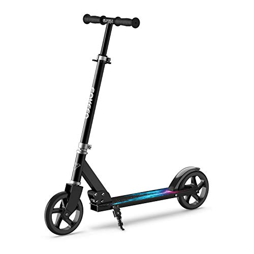 ENKEEO Kick Scooters with 220 lbs Capacity, Scooters for Adults Height Adjustable Handlebar and Over Large Wheels, Smart Brake System, Folding Commuter Scooter for Teens, Adult (Black)