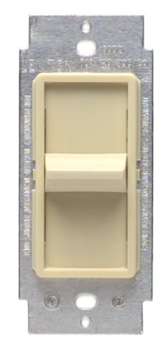 Leviton Decora Slide Dimmer No. 6631-I 600 Watt Single Pole Incandescent Lighting switch with Sureslide with Locator Light easy access in the dark to locate