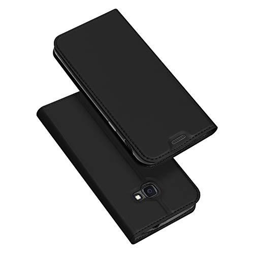 DUX DUCIS Hülle für Samsung Galaxy Xcover 4s / Xcover 4, Leder Klappbar Handyhülle Schutzhülle Tasche Hülle mit [Kartenfach] [Standfunktion] [Magnetisch] (Schwarz)