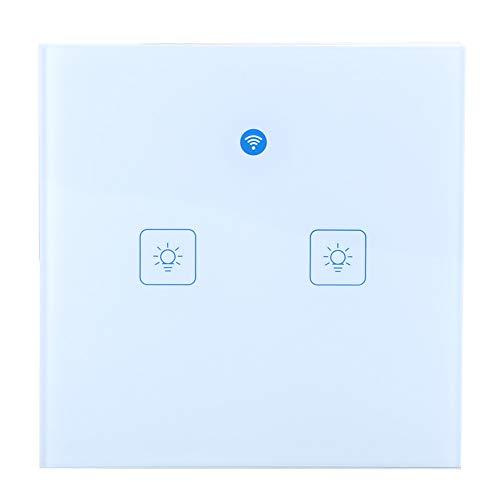 PUSOKEI Interruptor táctil de Pared Inteligente WiFi, Interruptor de Control de Voz Inteligente, Interruptor de Control Remoto de aplicación móvil(Vía EU-2)