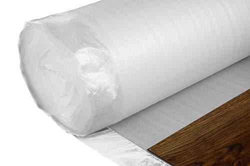 25qm Nostra Trittschalldämmung 2mm Stärke - integrierte Dampfbremse, geeignet für alle Holzböden, preiswerte Unterlage für schwach frequentierte Räume - NostraFoam easy