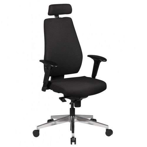 AMSTYLE Bürostuhl DARIUS Bezug Stoff Schwarz Schreibtischstuhl Design 120kg Chefsessel Synchronmechanik ergonomisch Drehstuhl hohe Rücken-Lehne höhenverstellbar mit Armlehnen Hochlehner Kopfstütze XXL
