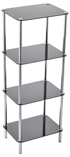 ASPECT Stockholm 4-Tier Display Glass Unit, 40 x 30 x 102 cm, Black
