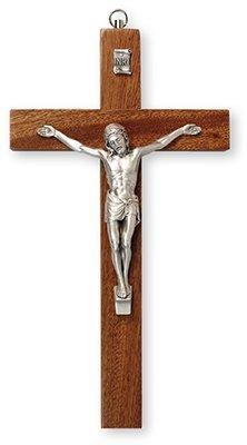 25cm Mahogany Wall Hanging Wood Crucifix Cross Silver Jesus 10591