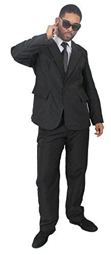 Disfraz de agente secreto para adultos, traje negro con gafas de sol y corbata negra para adultos, traje negro de 2 piezas con chaqueta y pantalones (mediano)