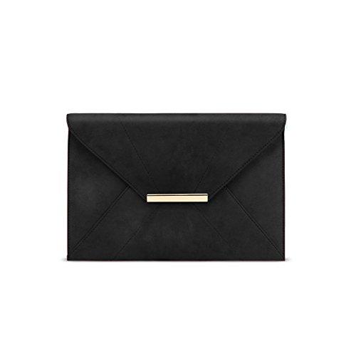 Anna Smith Umschlag geformte Handtasche, Damen Abend Crossbody Tasche mit Gold Matel Kette Gurt Damen Umschlag tägliche Prom dünne Taschen mit Tasche schwarz