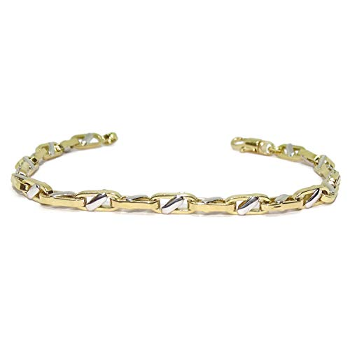 Never Say Never Bracelet for Men 18k Gold Forced Model cpn Bicolor Bar 21.50cm Long, 5mm Wide and 8.05gr 18k Gold Weight Lobster Clasp for Maximum Safety
