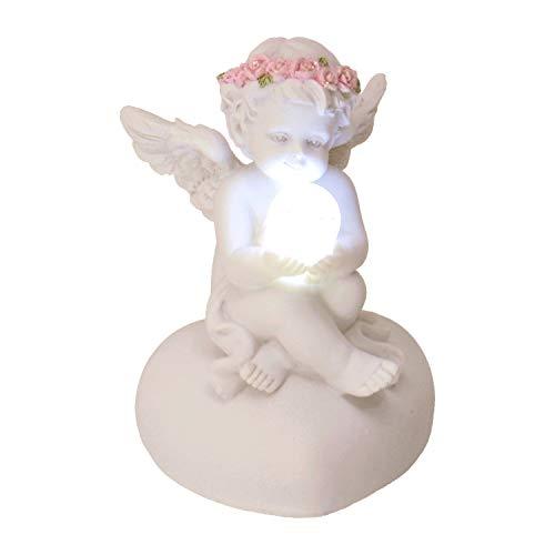 trendaffe Engel Dekofigur mit LED-Kugel und Rosenblütenkranz - Engelchen Deko Figur