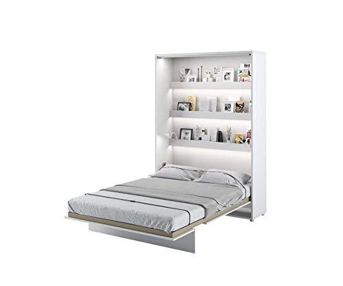 Schrankbett Bed Concept, Wandklappbett mit Lattenrost, V-Bett, Wandbett Bettschrank Schrank mit integriertem Klappbett Funktionsbett (BC-01, 140 x 200 cm, Weiß/Weiß, Vertical)