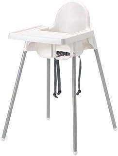 كرسي مرتفع محمول مع صينية للاطفال، فضي/ابيض