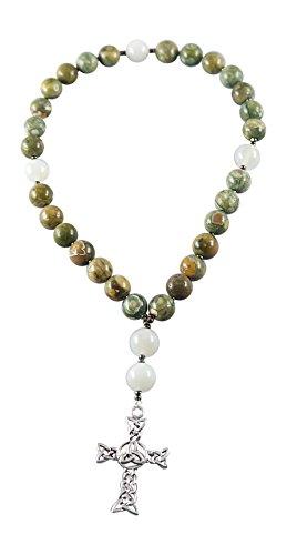 Kit Johnson Designs Anglican Rosary Beads, Rainforest Jasper, Moonstone, Celtic Triskelion Cross, Instruction Booklet